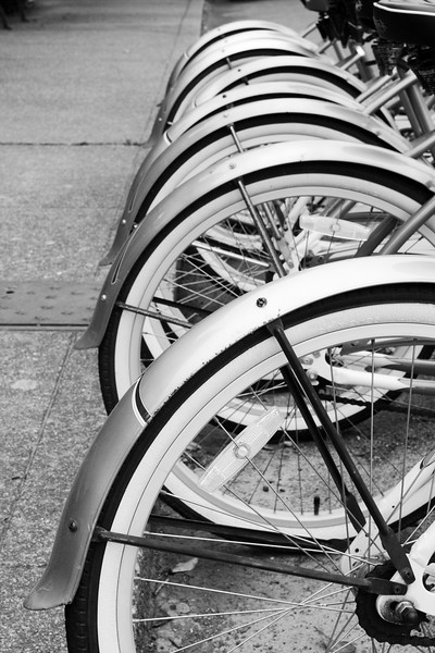 Untitled<br /> A close-up of a row of bikes in front of an inn in Ferndale, California.