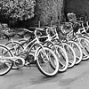 Waiting for a ride.<br /> A row of bikes in front of an inn in Ferndale, California.