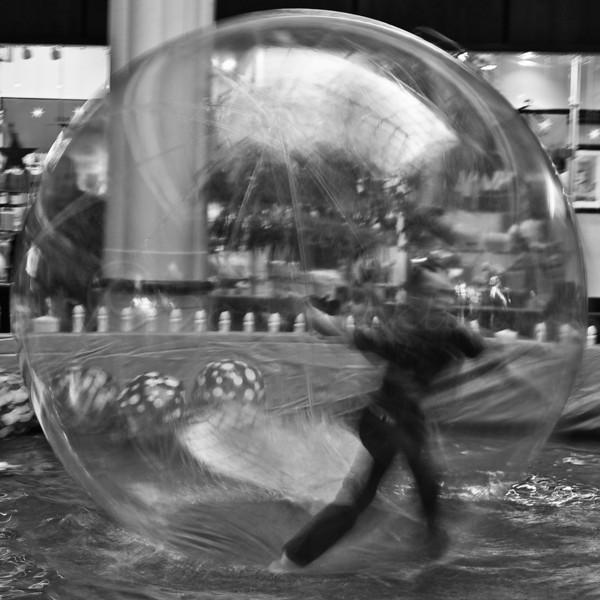Boy in a bubble by Walking on water! Square Crop