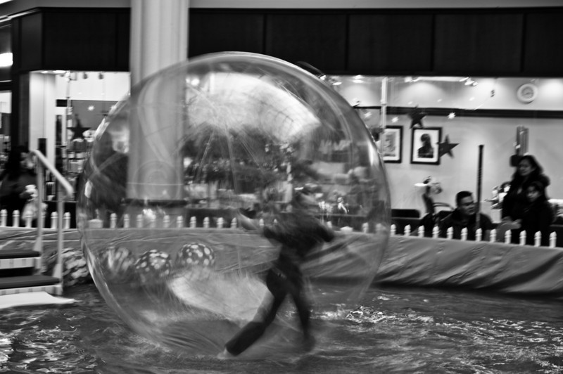 Boy in a bubble.<br /> Walking on water!