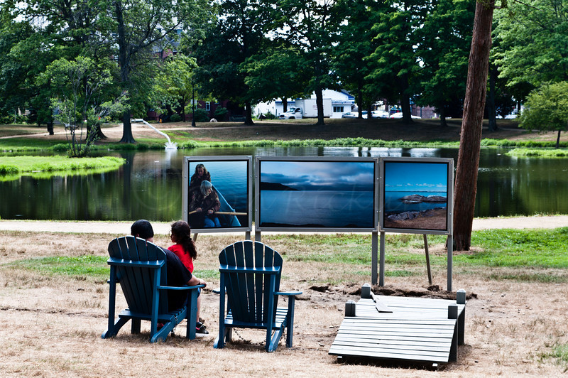 "Enjoying Art in the Park!<br /> <br /> ""Melt/Water"" by Kathryn Lipke Vigesaa"