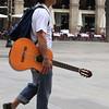 Barcelona flamenco guitarist walking to his next table gig!