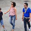 A family taking a stroll in Barcelona, Spain.