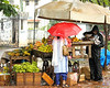 Neighborhood Fruit Vendor in the monsoon rain