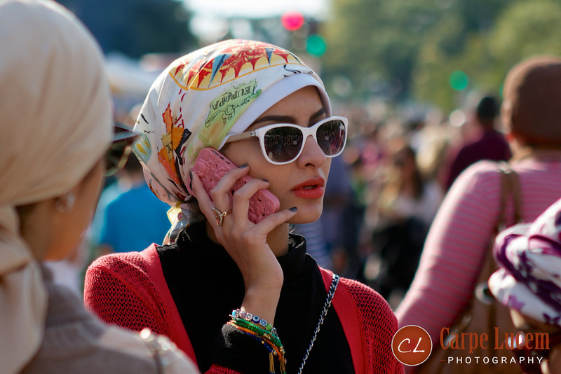 A fashionable woman at the Turkish street festival in Washington, DC