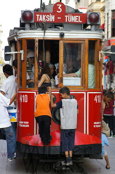 Riding the trolley in Taksim Square