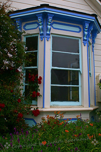 Window in Mendocino ~ A beautifully painted window in a home in Mendocino.  This lovely town on the coast offered wonderful views, despite the foggy morning.