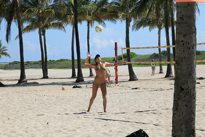 South Beach volleyball match and bikinis.  All lovely sights.