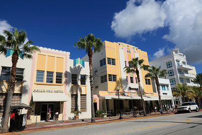 Art Deco construction on Ocean Drive. The Ocean Five Hotel and the Barolo Café and Hotel. South Beach, Florida.