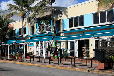 Mango's Tropical Café, before daily opening, Ocean Drive, South Beach, Florida.