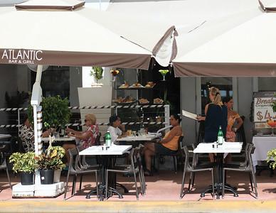 Breakfast at the Atlantic Bar & Grill, Ocean Drive, South Beach, Florida.