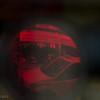 inverted reflection off a binocular lens