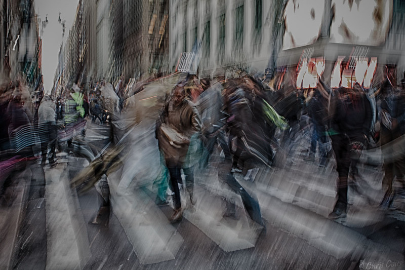 Capturing the chaos of a New York City crosswalk.