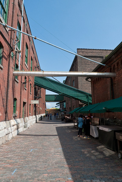 Inside Toronto's Distillery District, a beautiful shopping area built in the various buildings left behind by the Gooderham & Worts Distillery.