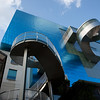 A close-up view of Frank Gehry's big blue cube above the Art Gallery of Ontario, with its odd spindly staircases.