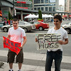I'm not sure why these boys were offering free hugs.