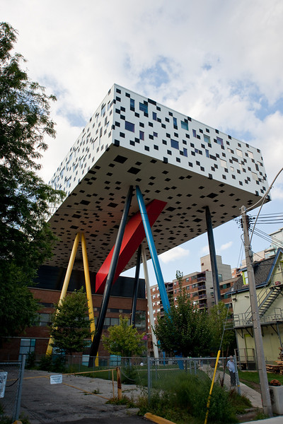 """The famous """"tabletop"""" building of the Ontario College of Art and Design is right next door to Frank Gehry's new Art Gallery of Ontario."""