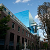 The backside of the Art Gallery of Ontario.  The brick building at left is a curatorial wing added in the 1990s.  The shockingly blue building with the strange staircase was added by Frank Gehry.  The brick building at centre-right is the historic Grange building.