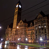 Old City Hall at night, in the rain.