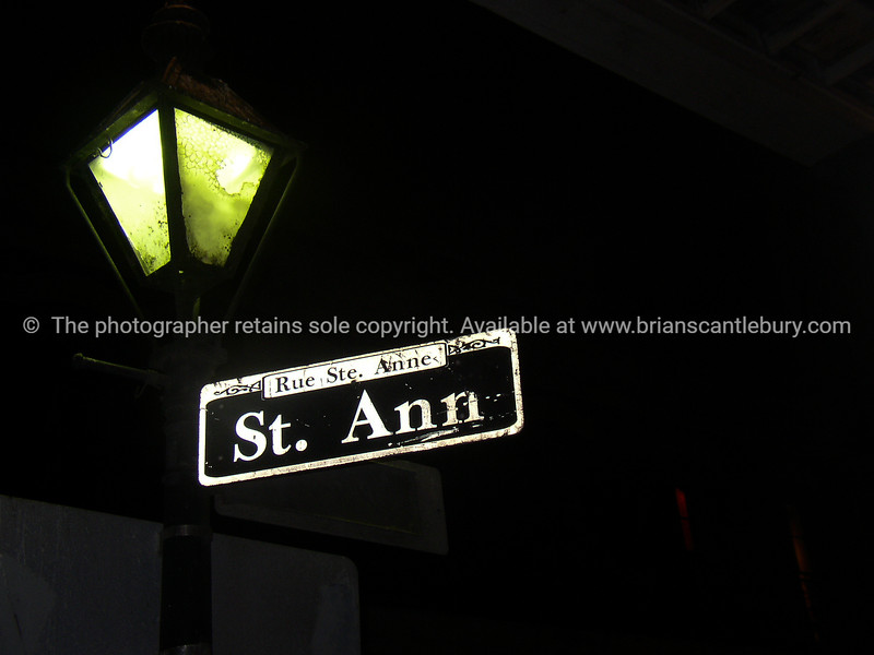 New Orleans, street sign at night, St Anne St.<br /> Rue Ste. Ann.