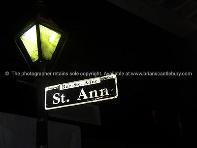 New Orleans, street sign at night, St Anne St. Rue Ste. Ann.