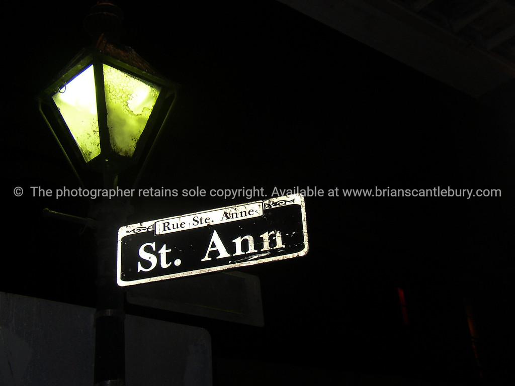 New Orleans, street sign at night, St Anne St.<br /> Rue Ste. Ann.