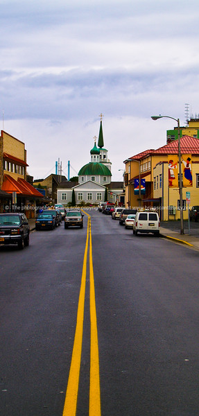 Centre lines, main street of Sitka, Alaska.