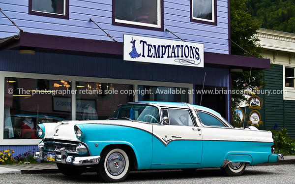"Vintage car, V8, outside ""Temptations"" shop, Skagway, Alaska."