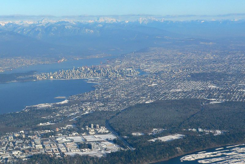 Vancouver, BC from a 737 just exiting the airport.   Looking East.  At bottom left is the University of BC campus<br /> <br /> P1010129__cra