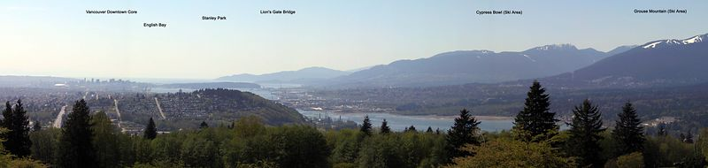 Looking west from Burnaby Mountain. Lion's Gate Bridge is about 20 km distant. A warm day (26°C) for Vancouver, hence the haze. And a lazy job using PhotoStitch. :) <br /> <br /> Panorama_750-753_tags.jpeg
