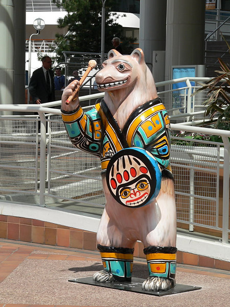 "Vancouver is hosting a ""Bears"" exhibit.  All over the city you will see bears painted up in various unique designs.  This one is in front of the Pan Pacific Hotel/Convention Centre/Cruise Ship Terminal."