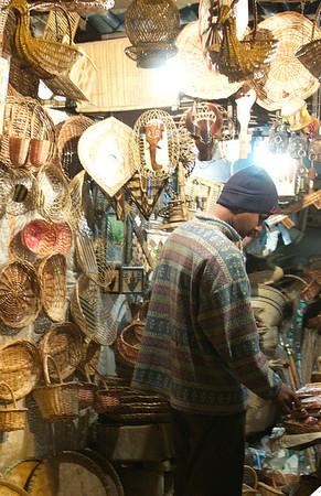 Straw basket vendor in Varanasi, India