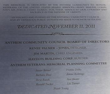 Veteran's Memorial at Anthem - Nov 15, 2011