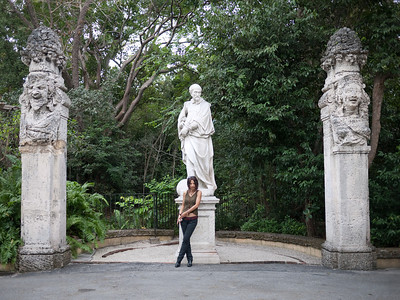 Posing at the statues in Vizcaya.
