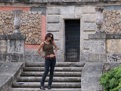 Model working the stairs at Vizcaya.