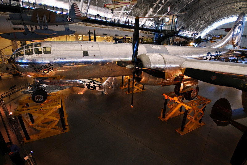 "The Enola Gay.  The first, of only two,  aircraft to drop an atomic weapon in anger.  This is the actual plane that dropped the atomic bomb, code named ""Little Boy"", on Hiroshima, Japan  August 6, 1945. The pilot's name was Col Paul Tibbets.  <br /> <br /> To give you an idea of the incredible power of not just the bomb but of the power that binds the components of an atom together consider this:  The business end of the bomb used only a little over 64 kilograms (about 141 lbs) of uranium to do it's thing.  Now, there are really only two types of stuff in the universe:  mass or energy.  That's really it, and as you may have heard E=MC2<br /> <br /> E=MC2--what does that mean? It means that the amount of energy in something (E) is equal to it's mass (M) times the speed of light squared (C2).  Basically what it means is there is a tremendous amount of energy in all matter...IF (big if) you can rip the atomic shell apart to release it.  For almost all elements this is very, very hard to do (by hard I mean impossible really); but some elements lend themselves to this process more easily than others, like uranium. <br /> <br /> Little Boy detonated at 1,980 ft above Hiroshima that morning as inside the bomb casing a 25.6 kg slug of uranium was fired down a short barrel into a 38.5 kg target of uranium.  The collision between the two 'halves' of uranium instantaneously reached critical mass--converting a mere 600 grams of uranium into pure energy.  The act of ripping loose those 600 grams (about 21 oz by weight) worth of protons, electrons and neutrons is what caused the massive heat, radiation and explosion.  <br /> <br /> Think about that.  The destruction of an entire city was caused by nothing more than a pound or so of nuclei that went out for ice cream and never came back. <br /> <br /> Three days later Fat Man, a second atomic device, was dropped on Nagasaki, Japan.  Six days after that, on August 15th, 1945 Japan surrendered ending World War II.<br /> <br /> Those 600 grams of split particles, and their cousins at Nagasaki, saved the lives of an estimated 1 million US soldiers."