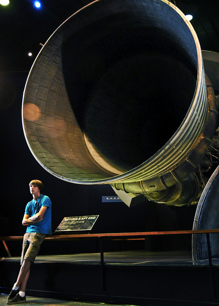 The massive F1 rocket engine by Rocketdyne.  How powerful is this beast?  Just the fuel pump for this thing by itself has 55, 000 horsepower.  55,000 horsepower just to sling the gas to this monster.  It has to. The F-1 burns 40,000 gallons of fuel a minute.  To give you an idea of how much liquid that is--it would empty the average size backyard pool in 15 seconds. <br /> <br /> Just how much power is produced by  40,000 gallons of kerosene and liquid oxygen a minute when they meet inside the F-1? <br /> 160,000,000 horses worth.  <br /> <br /> This one engine is as powerful as all three engines on the back of the Space Shuttle.<br /> <br /> The Saturn V used 5 of these just in the first stage alone.<br /> <br /> If you haven't guessed the Saturn V, still to this day, is the most powerful device ever created by man--with the exception of compound interest.