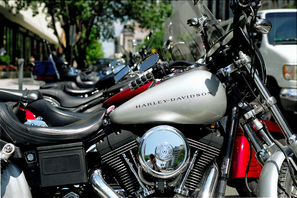 Motorcycles parked in the middle of downtown Washington, DC