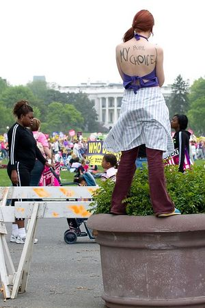 """""""my body my choice"""", behind the White House at the march for women's lives, Washington DC, April 25th 2004"""