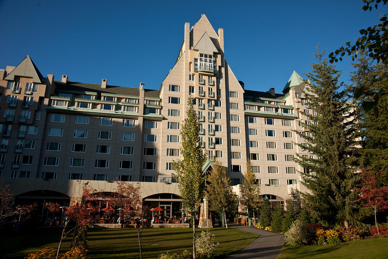 The Fairmont Chateau Whistler, from the garden.