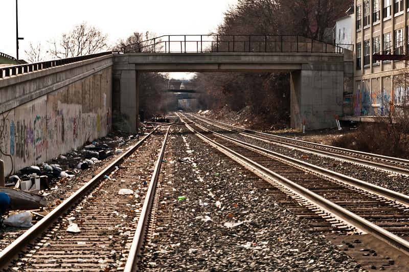 Tracks south towards Providence.