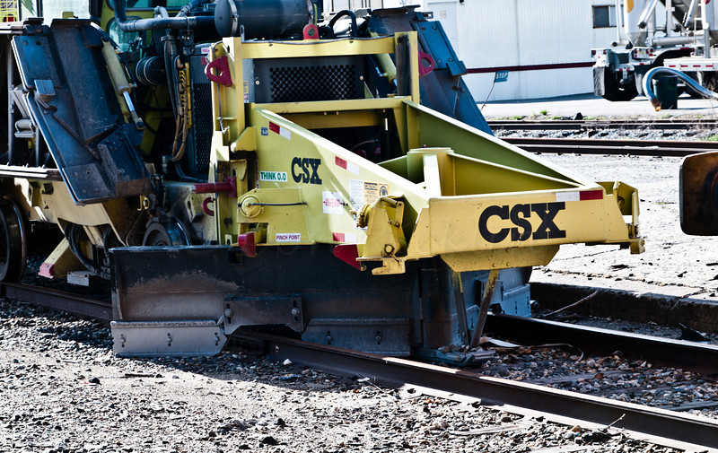 CSX Bed clearing and rail cleaning maintenance machine detail