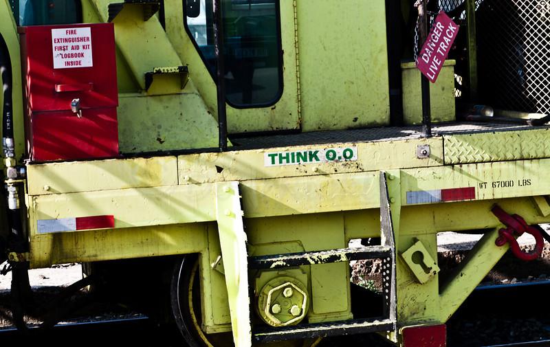detail of second CSX rail alignment maintenance machine.