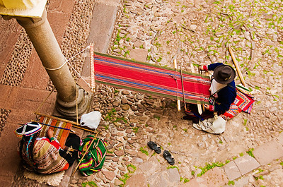 Andean craftspeople at work at the Hotel Picoaga courtyard