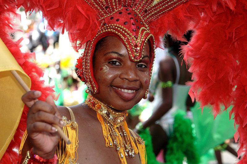French Carabean dancer during the Tropical Carnival, Paris, France.
