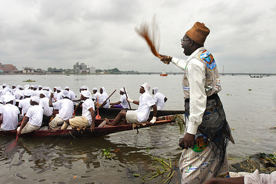 Race during the Ngondo festival from the Sawa people, Littoral, Douala, Cameroon.