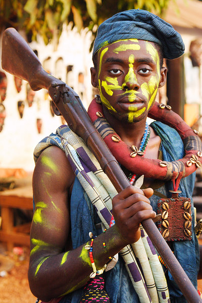 Soldier character during the Nguon festival, Foumban, Cameroon.