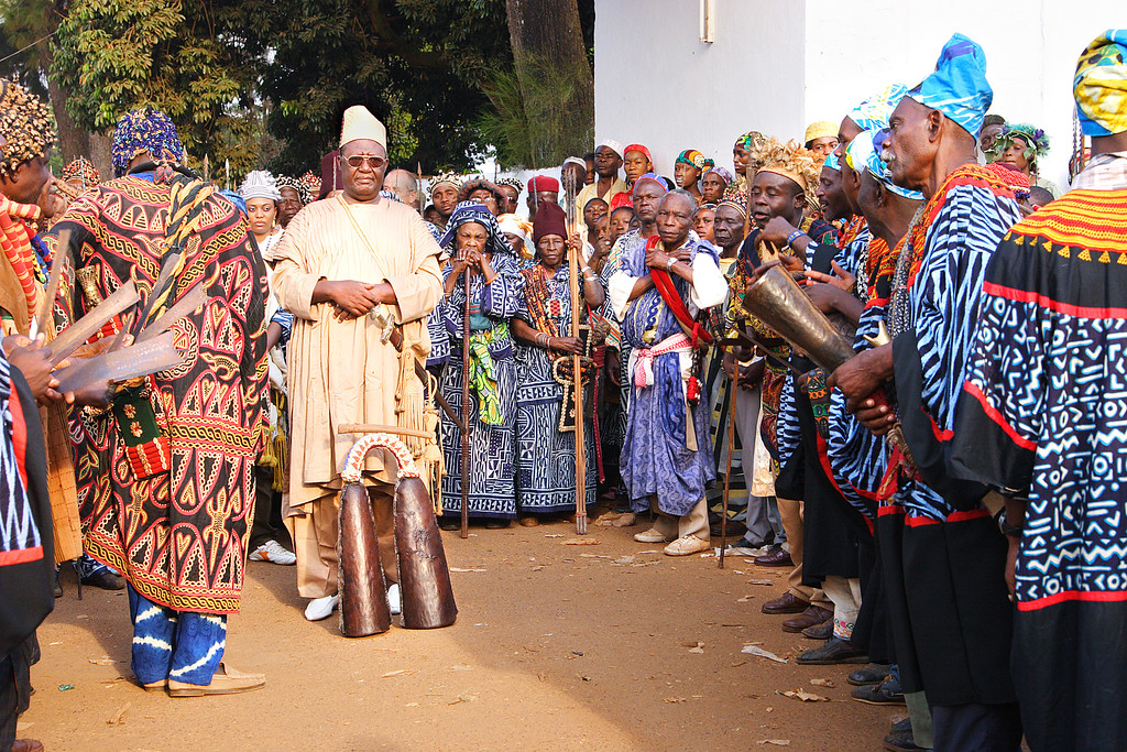 """Mbombo Djoya"", Sultan of the Bamoun people since 1992 during the Nguon Festival, Foumban, Cameroon."