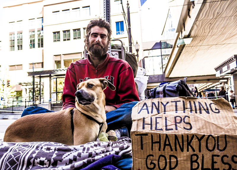 homeless man with dog...