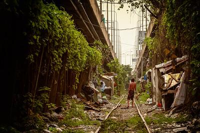 on the tracks in Klong Toey, Bangkok
